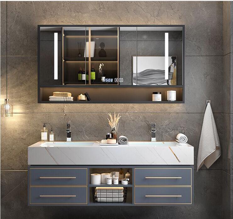 Bathroom-Light Hand-Washi Integrated-Basin Luxury Modern Cabinet-Combination Rock-Plate