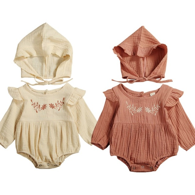 2PCS Baby Spring Autumn Clothing Newborn Baby Girl Cotton Linen Clothes Ruffle Romper Embroidery Jumpsuit Hat Outfit