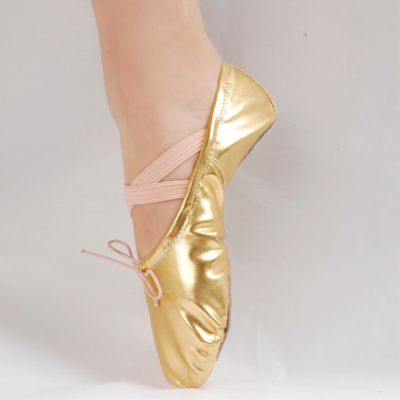 Women Girls PU Leather Ballet Dance Shoes Ointe Sequins Gold Silver R Ballet Dancing Shoes Elastic Sport Dance Sneakers Footwear