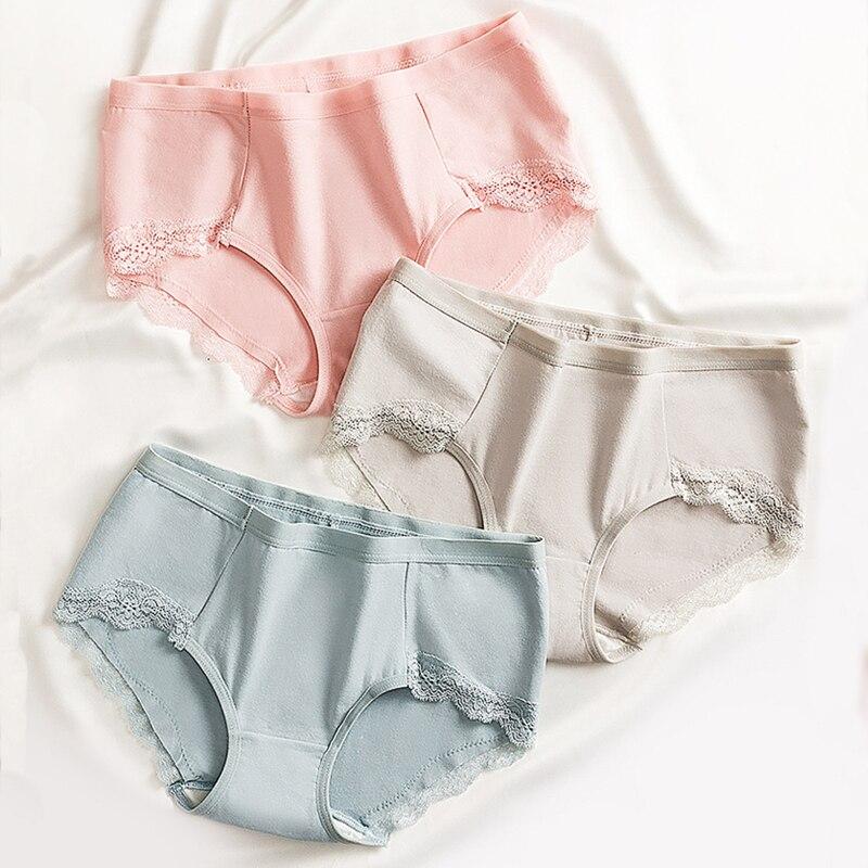 3pcs/lot Women Panties Set Cotton Briefs Comfort Lace Underwear Soft Lingerie Female Underpants Panty Intimates Thong