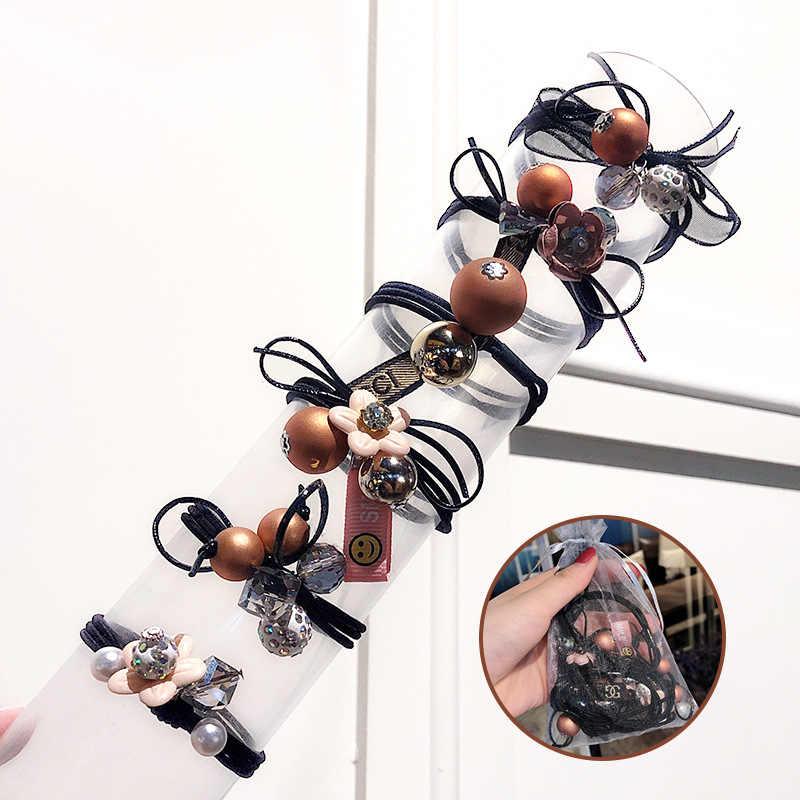 Xugar 6 ชิ้น/เซ็ต Elegant ไข่มุกยืดหยุ่น Scrunchies ผมดอกไม้สำหรับสตรีผมแหวนผมอุปกรณ์เสริม