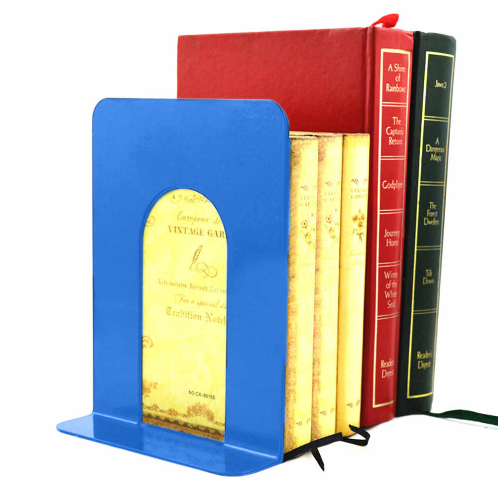 2Pc School Office dedicated Bookends Art Bookend Metal Bookend Supports 1 Pair Desktop Books Organizer