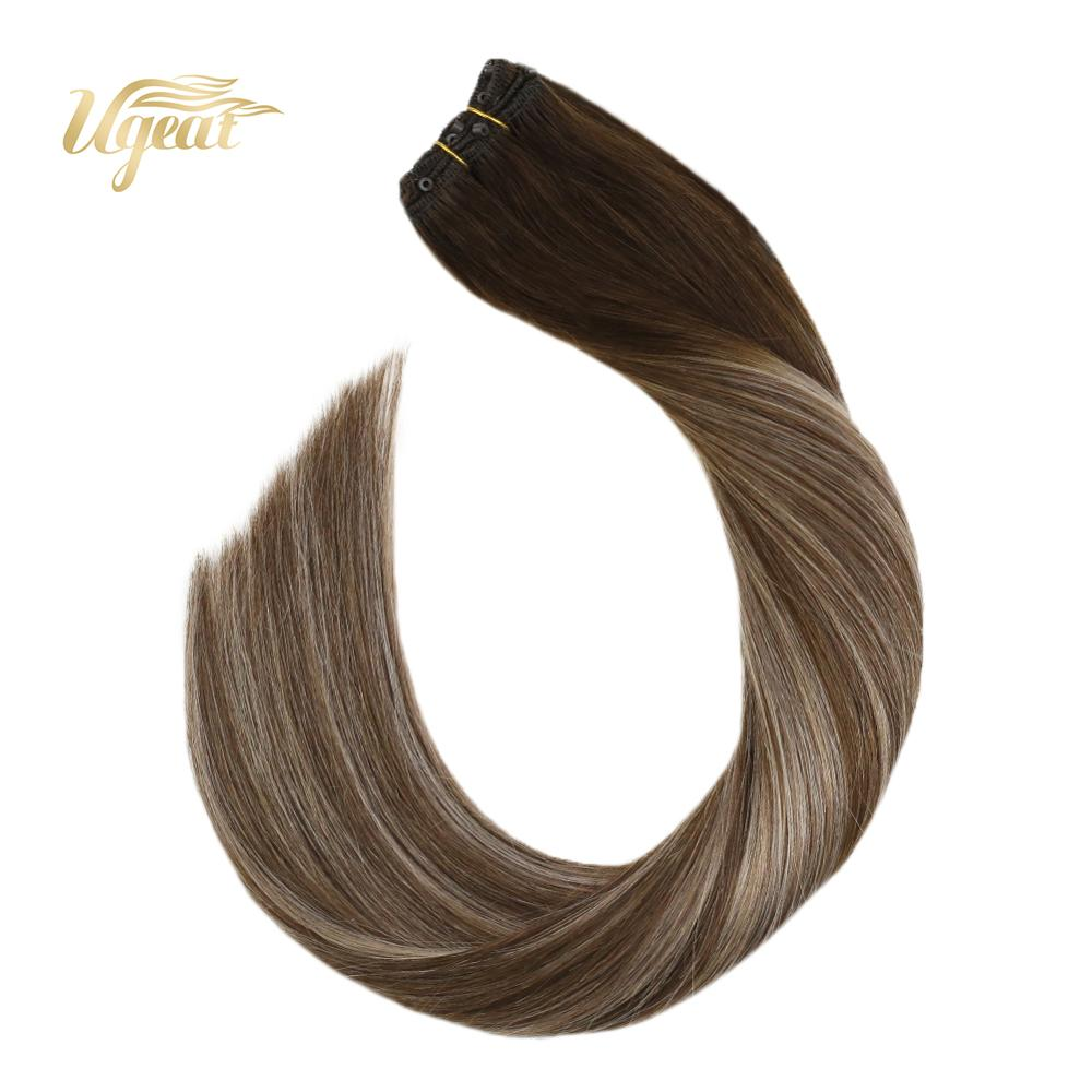 Ugeat Micro Bead Human Hair Extensions Brown Color Human Hair Extensions 14-24