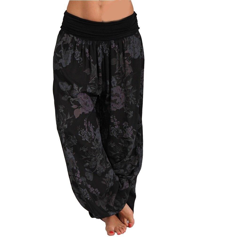 Fashion 9 Colors Nice Summer Women Wide Leg Pants Loose Boho Print Pants Casual Vintage Plus Size Pants
