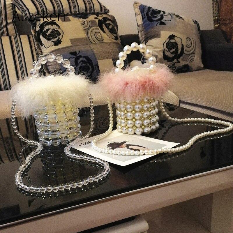 Faux Fur Pearl Evening Bag Women Retro Handmade Clear Pearl Beaded Small Clutch Bucket Handbag Ladies Shoulder Bag Wedding Party