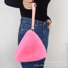 Женская сумочка косметичка из кроличьего меха яркая модная для