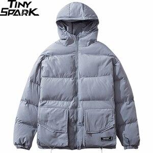 Image 3 - 2019 Winter Hooded Jacket Parka Streetwear Hip Hop Men Trench Windbreaker Oversize Harajuku Padded Jacket Coat Warm Outwear New