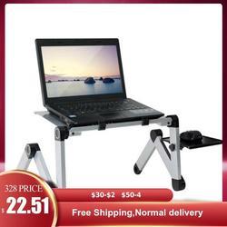 Taşınabilir ayarlanabilir alüminyum dizüstü bilgisayar masası standı masa bacalı ergonomik TV yatak Lap Stand Up çalışma ofis PC yükseltici yatak kanepe kanepe