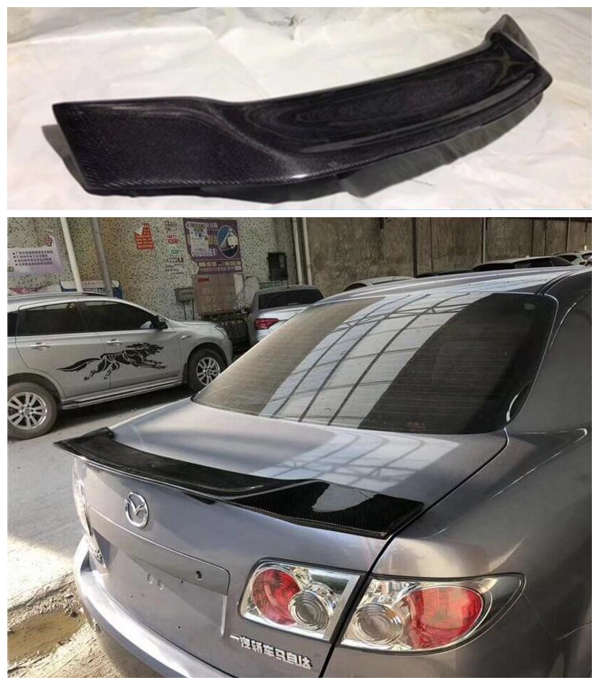 High quality Carbon Fiber Car Rear Trunk Lip <font><b>Spoiler</b></font> Wing Fits For <font><b>Mazda</b></font> <font><b>6</b></font> <font><b>Mazda</b></font> 3 Axela Sedan <font><b>Mazda</b></font> <font><b>Mazda</b></font> <font><b>6</b></font> Atenza 2003-2019 image