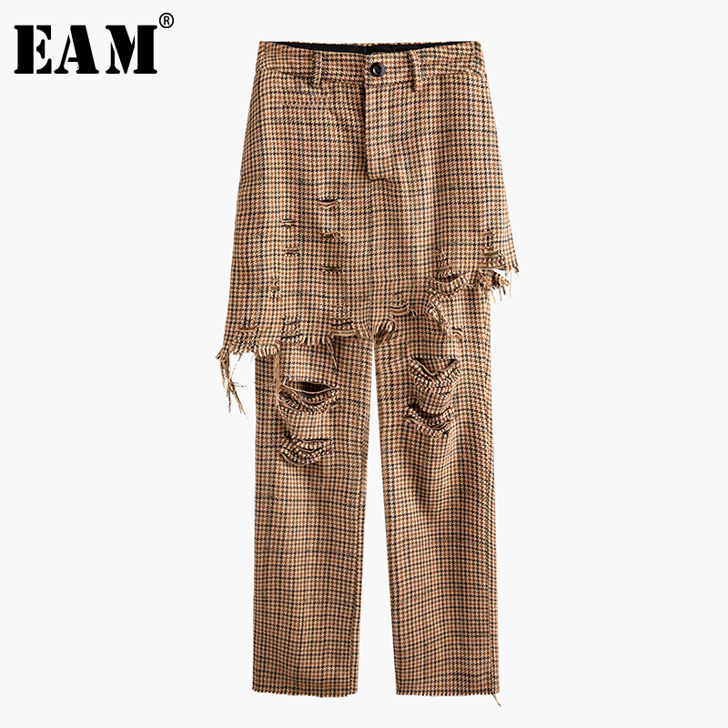 [EAM] High Waist Camel Plaid Holes False Two Long Trousers New Loose Fit Pants Women Fashion Tide Spring Autumn 2020 1N068