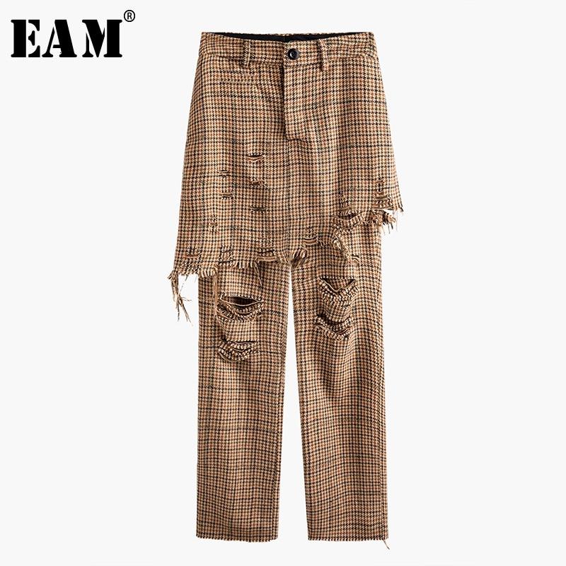 [EAM] High Waist Camel Plaid Holes False Two Long Trousers New Loose Fit Pants Women Fashion Tide Spring Autumn 2020 1N068
