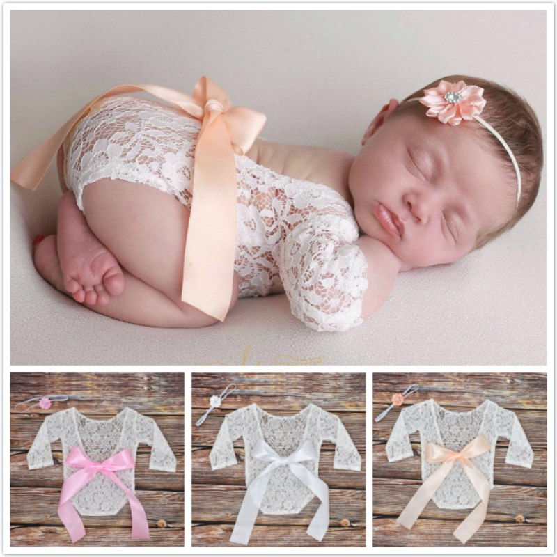 2pcs Newborn Photography Props Baby Girls Lace Rompers Headband Photo Shoot Princess Bow Kids Clothes Onesies Studio Shoot