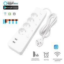 цена на Smart Home WIFI plug Timer extension 4EU plug power strip 2 USB charge 5V 3.1A Independent Control Timing speech Euro socket