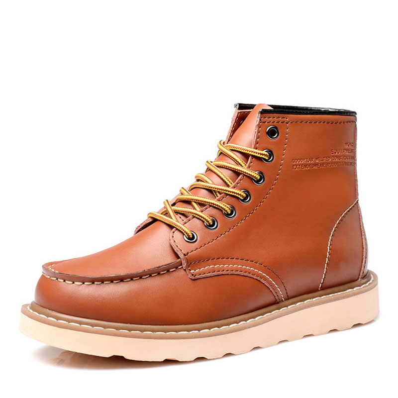 Men Boots Wing Work Wedding Handmade Vintage Genuine-Leather Casual Fashion Travel Lace-Up title=