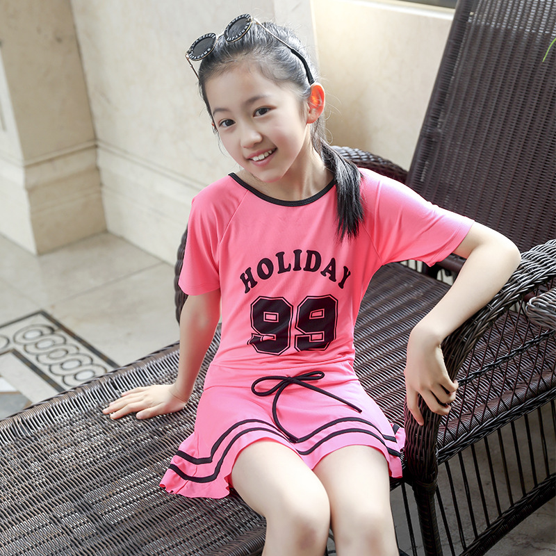 2019 New Style KID'S Swimwear Girls Swimwear Korean-style Baby Girls Large Children Dress-Cartoon Swimwear