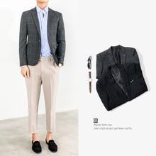Zogaa 2019 New Fashion Mens Smart Casual Suits Male Black Gray Plaid One Button Blazers Korean Version Slim