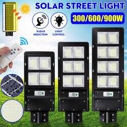 300W 600W 900W LED Solar Straße Licht Radar Motion IP65 Wand Lampe keine/mit Fernbedienung für Villen Garten Hof Offroad