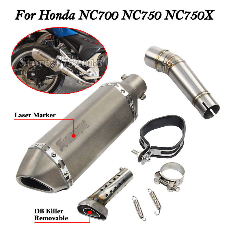 black Motorcycle Slip on Exhaust system With Muffler Fit For HONDA NC700 NC750 NC750X 2012-2017