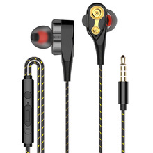 Amorno Earphones Double Moving Coil In ear Headsets With Built in Microphone 3.5mm Wired 4 Speaker Double Dynamic Headphone Game