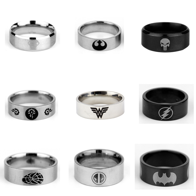 Starwars Deadpool Punisher Flash Man Superman Spiderman Suicide Squad World <font><b>of</b></font> Warcrafts Stainless Steel <font><b>Ring</b></font> image