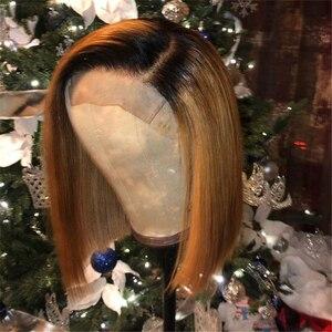 13*4 perruque avant en dentelle synthétique Ombre Blonde Invisible couleur soyeuse courte Bob avant de lacet perruques pour les femmes noires blanchies noeuds