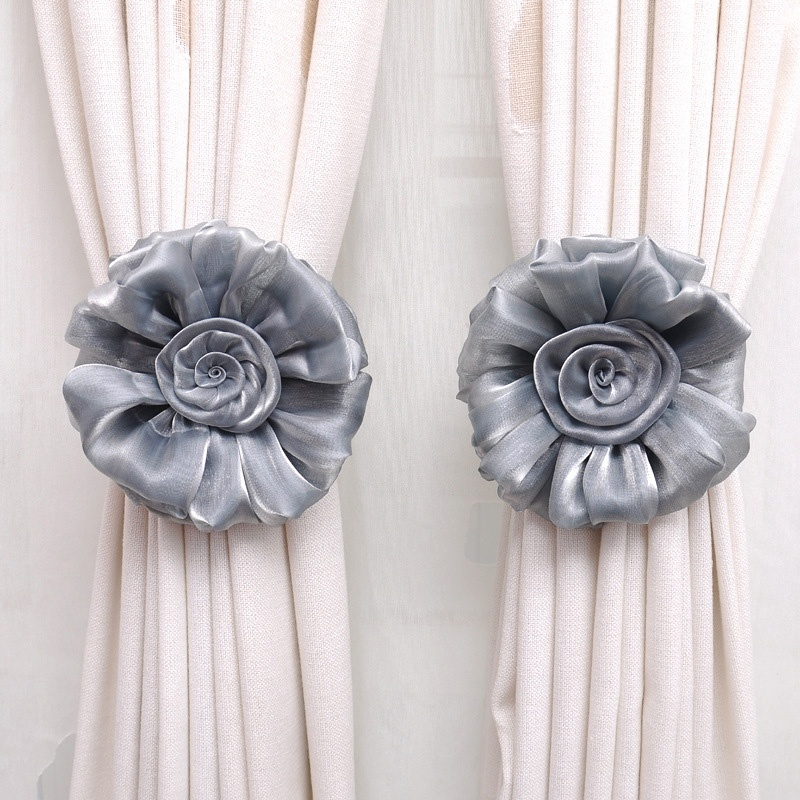 1 pair clip on home living room bed room rose flower curtain tie backs tieback holder voile drape panel decorative curtain decorative accessories aliexpress