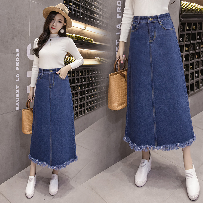 Photo Shoot Denim Skirt Skirt 2019 Autumn And Winter Korean-style A- Line Skirt Mid-length 200 Large Size Dress 1891