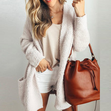 Winter Warm Wool Sweaters Solid Loose Big Pockets Cardigan Sweaters Coat Outwear Women Streetwear Jumper Pull Femme 2019 or22