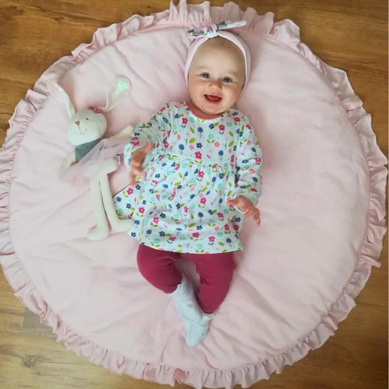 Hb263c685615644898dcf85e57da98501X Nordic Newborn Baby Padded Play Mats Soft Cotton Crawling Mat Girls Game Rugs Round Floor Carpet For Kids Interior Room Decor