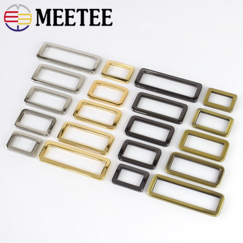 Meetee 20pcs Metal Ring Buckles Adjustable Belt Webbing For Backpack Strap Shoes Bags Dog Collar Clasp Garment DIY Accessories