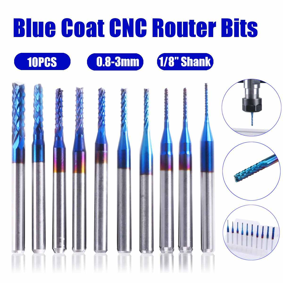 New 5x 1//8inch Shank 0.8mm*3mm Carbide End Mill Cutter CNC Router Bits 2-Flute