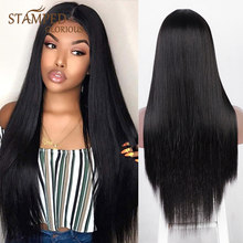 Stamped Glorious Long Straight Synthetic T-Part Lace Wigs for Women Middle Part Black Lace Wig Heat Resistant Cosplay Wig