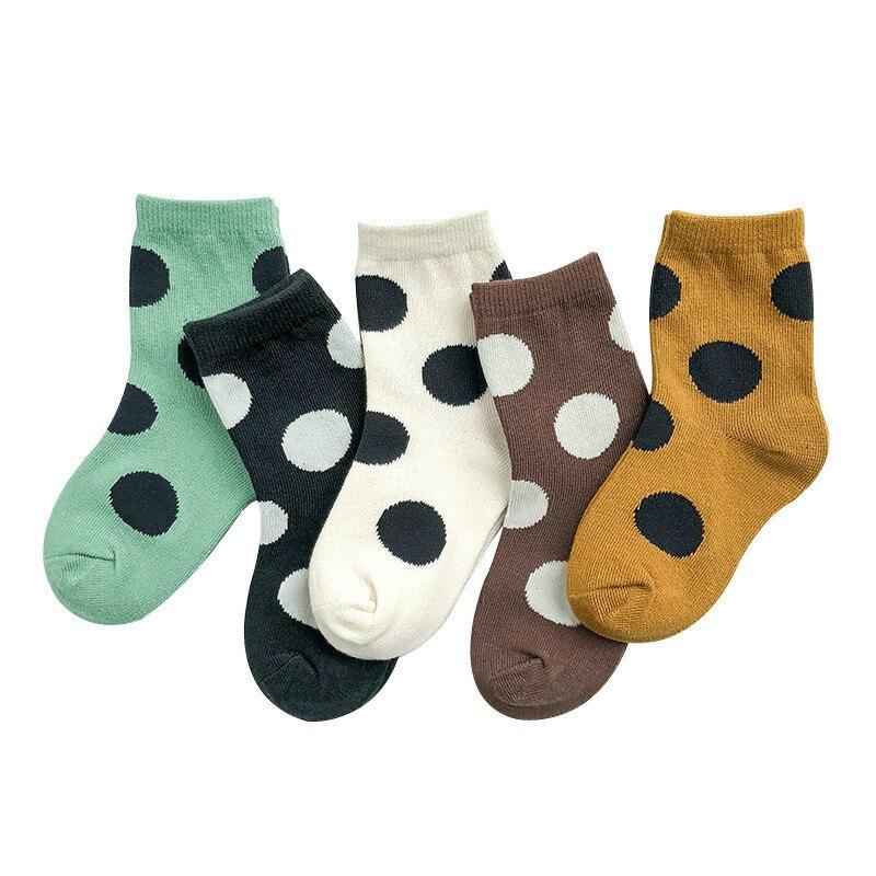 5-Pair Pack Boy Socks Cotton Socks Girl's Socks Autumn and Winter Big Polka Dot Color Matching Socks Children's Cotton Socks 5