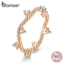 bamoer Original Design Clear CZ Crystal 925 Sterling Silver Finger Rings for Women Rose Gold Color Fashion Jewelry SCR577 цена 2017