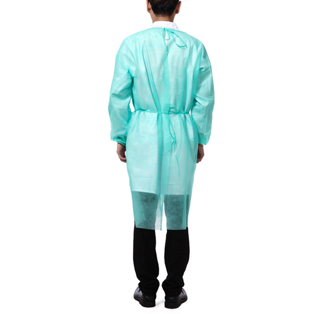 10PCS Portable Non-woven Security Protection Suit Comfortable Disposable Cover Up Isolation PPE Gown for Factory Laboratory 5