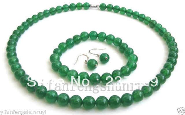 "FREIES >>@> Großhandel preis FREIES a8mm natürliche smaragd jade jade schmuck set halskette 18 ""+ armband 7,5"" + ohrringe"