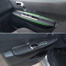 Apoio de Braço Da Porta Interior do carro Painel de Couro Microfibra Adesivo Cobrir Guarnição Para Peugeot 3008 2011 2012