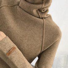 Gola alta fina malha camisola feminina outerwear manga longa fino ajuste cor sólida pulôver moda inverno feminino 2021
