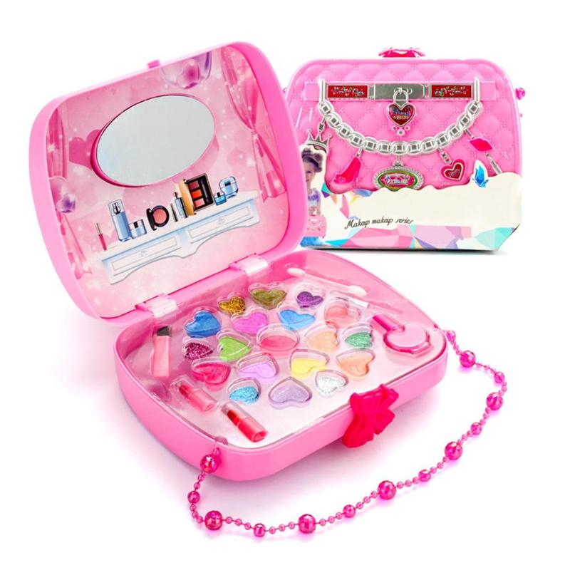 Toys For Girls Juguetes Kid Lips Nail Art Pigment Cosmetic Baby Girls Toys Pretend Play Toy Girls Travel Makeup Kit  Makeup Toy