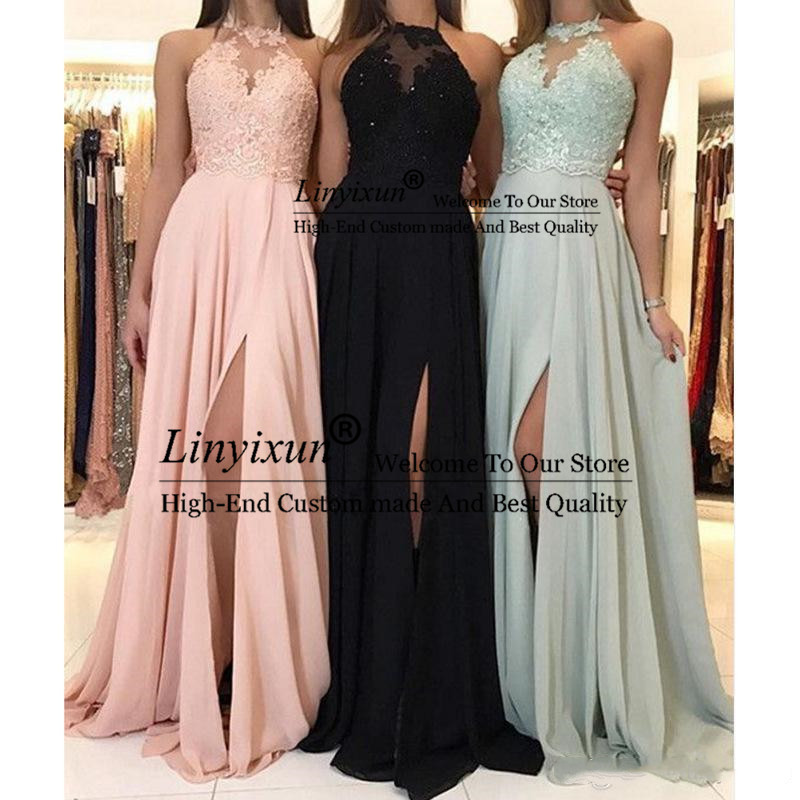 Cheap Simple Long   Prom     Dresses   Sexy Sheer Appliqued Evening Party   Dresses   lace sleeveless A Line Long   Prom     Dress