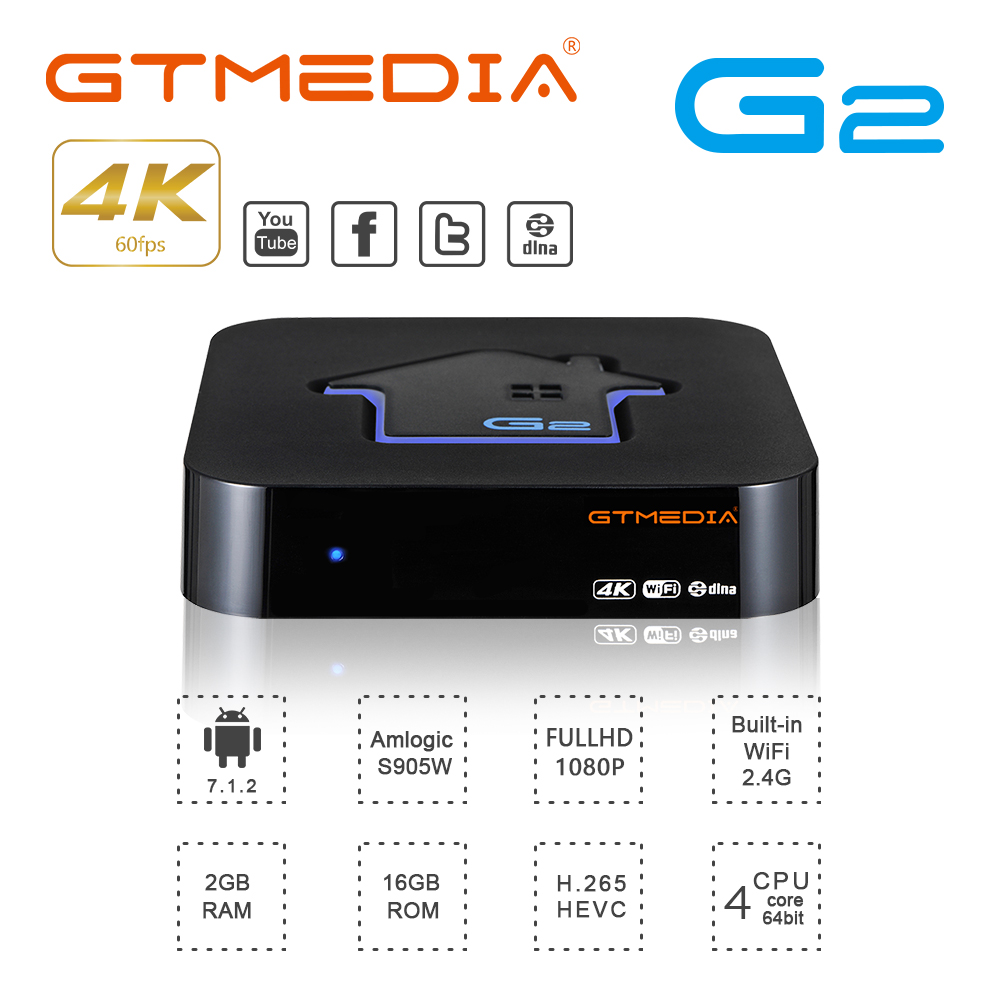 Original GTMEDIA G2 TV Box+IPTV Server 4K HDR Android 7.1 Ultra HD 2G 16G WIFI Google Cast Netflix IPTV Set Top Box Media Player