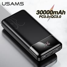 Usams qc 3.0 + pd電源銀行30000mah高速充電powerbank電話の外部バッテリーpowerbank iphoneサムスンhuawei社xiaomi