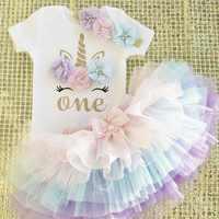 1 año bebé niña vestido unicornio fiesta vestido para niñas con tutú recién nacido niñas 1er cumpleaños trajes 3 uds ropa para niñas pequeñas 12M