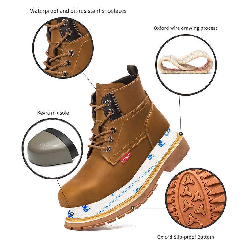 Werkschoenen Mannen Kantoor Veiligheidsschoenen Onverwoestbaar schoenen Anti Smashing Punctie Proof Crazy Horse Lederen Goede Jaar Handgemaakte