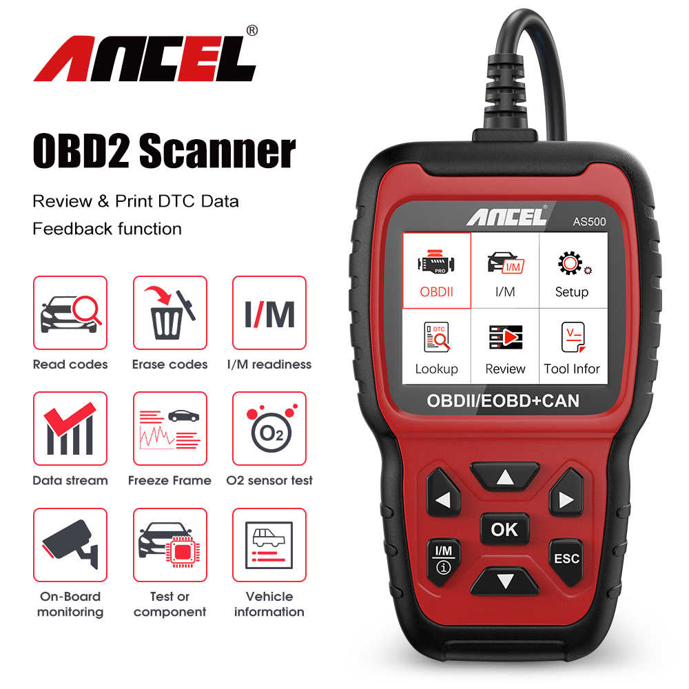 Ancel AS500 OBD2 Obd 2 Scanner Engine Code Reader Obd Car Diagnostics Tool Meertalige Gratis Update ODB2 Automotive Scanner