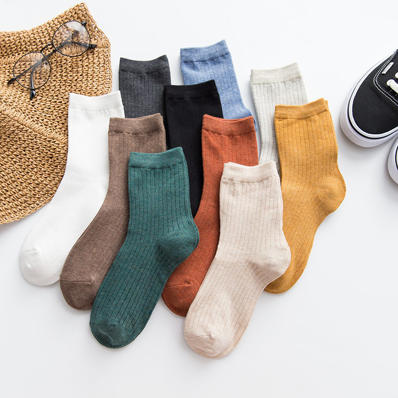 Cotton Female Tube Socks Solid Color Breathable Long Socks Double Needle High Quality White Black Green Women's Socks Casual Hot