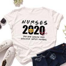 2020 женская футболка с надписью медсестры is hero летняя одежда