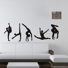 Gymnastics Pose Modern Portrait Wall Sticker For Living Room Gym Sport Door Home Decor Vinyl Self Adhesive Plane Wallpaper LW487