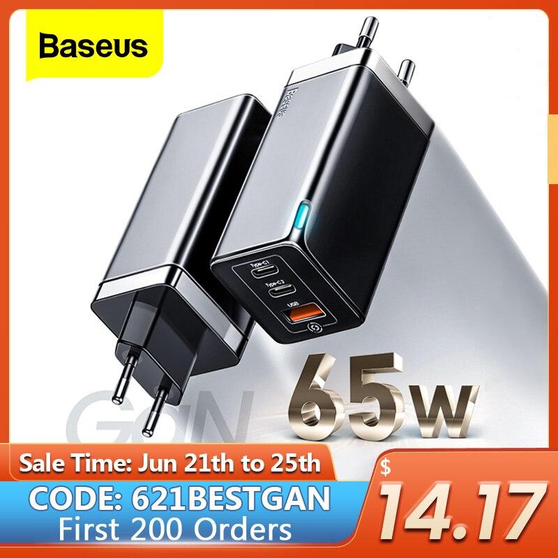 "Baseus גן 65W USB C מטען תשלום מהיר 4.0 3.0 QC4.0 QC PD3.0 פ""ד USB-C סוג C מהיר USB מטען עבור iPhone 12 Max Pro Macbook"
