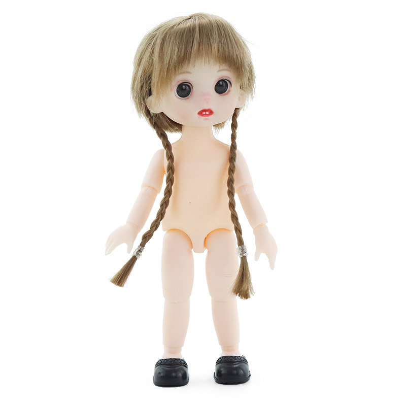 Mini Moveable Jointed Doll Toys 16cm 1/8 BJD Baby Doll Naked Doll's Practicing for Makeup Doll Head with Eyes Toys for Children 9